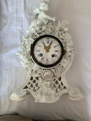 19c Cherub & Flower Encrusted Porcelain Clock Anchor Mark Japy Frere Movement