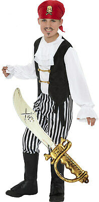 Boys Kids Childrens Pirate Captain Hook Dressing-Up Costume Outfit + SWORD