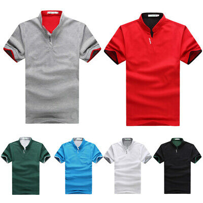 Men's Solid Business Blouse Stand Collar Casual Pullover Summer T Shirt Shirts