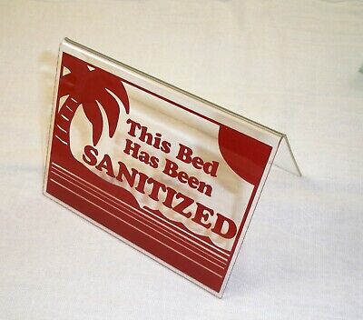 "This Bed Has Been Sanitized Acrylic Tent Sign 3.5 x 4.5"" Burgundy"