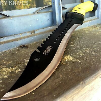 "15.5"" TACTICAL HUNTING SURVIVAL FIXED BLADE MACHETE Rambo Knife Sword Camping 77"