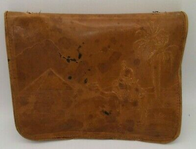 Antique Leather Egyptian Camel Pyramid Hieroglyphics Tooled Carrying Case RARE!!