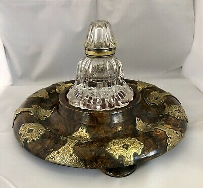 Quality Regency Vaneer & Brass Decorated In Stand. With Glass Bottle.