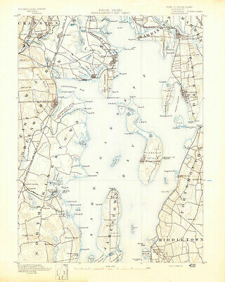 1890 Topo Map of Narragansett Bay Rhode Island