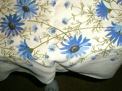 Vintage LInenTablecloth 51 x 66 Blue Daisies Partial Tag