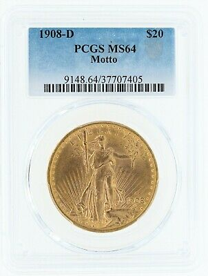 1908-D Motto PCGS MS64 $20 Saint Gaudens Double Eagle