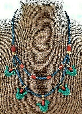 Antique Egyptian Bead old red coral Blue Bird Glass Dangle 2 layers Necklace
