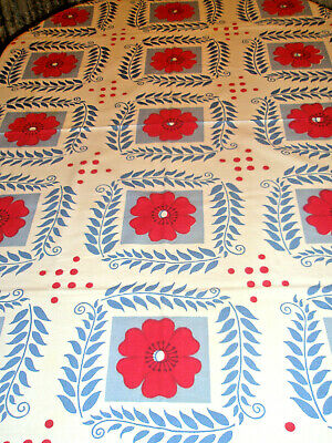 Vintage Tablecloth Big Red Flowers Blue Leaves Red Polka Dots 50 x 66