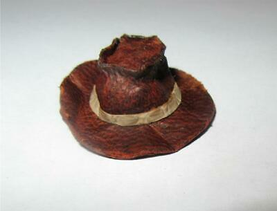 PL18A MINIATURE DOLLHOUSE BROWN LEATHER COWBOY HAT WITH TRIM-PRESTIGE LEATHER