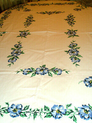 Vintage Tablecloth Blue Flowers Blue Green Leaves 50 x 66