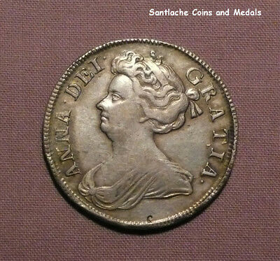 1707 QUEEN ANNE SILVER HALFCROWN - Septimo - NICE GRADE