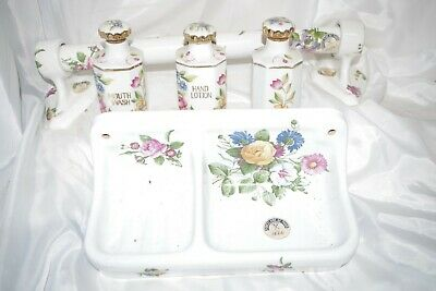 VTG Porcelaine De Paris Bathroom Accessory Set - Floral Bottles Towel Rack Soap
