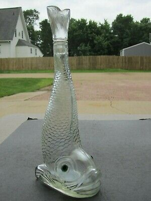 Big Smiling Fish With Blue Eyes Clear Glass Bottle With Tail Up Stopper