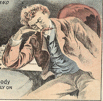 1880's PARKERS TONIC TRADE CARD, TIRED MAN BEFORE TONIC & AFTER, ALL WELL  X722