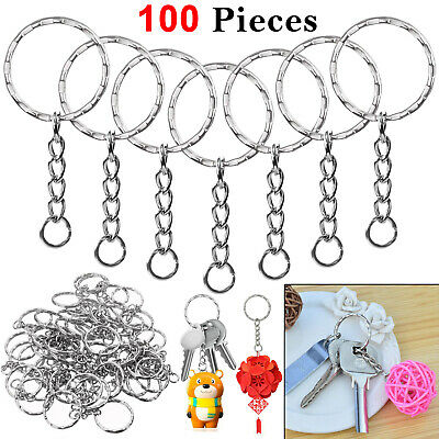100Pcs Metal Silver Keyring Blanks chains Tone Key Key Split Rings 4 Link Chain