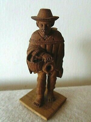 Awesome Hand Carved Miniature Wooden  Swiss Pottery Vendor Made In Switzerland