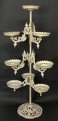 """Antique Cast Iron Tiered Plant Stand Victorian Swing Arm Flower Pot Holder 40"""""""