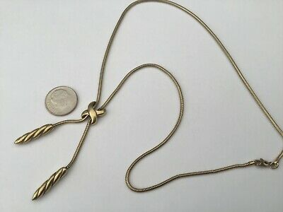 Vintage Designer CIANI Gold Vermeil Sterling Silver Lariat Necklace! Beautiful