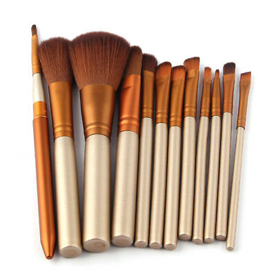 12Pcs Pro Makeup Brushes Set Foundation Powder Eyeshadow Cosmetic Brush Tools