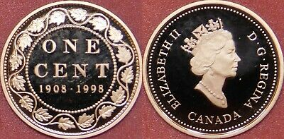 Proof 1908-1998 Canada Silver Large 1 Cent From Mint's Set