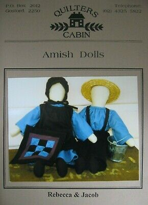 """Quilter's Cabin 19"""" AMISH DOLLS Rebecca & Jacob & miniature QUILT sewing pattern"""