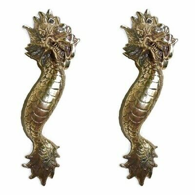 "2 Dragon door pull 30 cm POLISHED brass vintage old style house handle 12"" B"