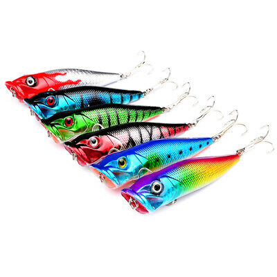 3.15'' Popper Fishing Lures Minnow Bass Bait Tackle Hard Bass Crankbait Hooks