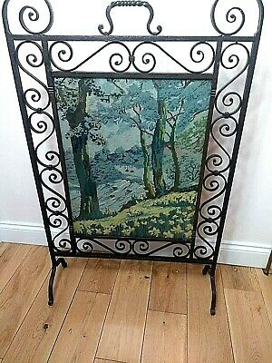 Vintage Cast Iron Fire Guard With Country Scene Hand Embroidery Tapestry