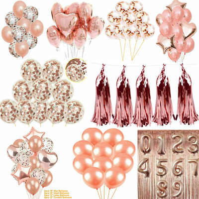 Rose Gold Foil Latex Confetti Number Balloon Wedding Birthday Hen Party Curtain