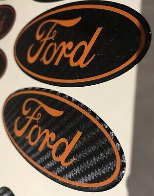 3 X Gel Domed Badges For Ford Focus Fiesta Mondeo Kuga Carbon With Any Colours