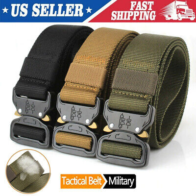 Adjustable Military Tactical Belt Mens Army Combat Waistband Quick Release Belt