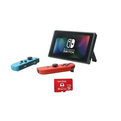 Nintendo Switch 32GB Console with Neon Red and Blue Joy-Con W/128GB MicroSDXC