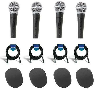 Shure 4x SM58S Cardioid Dynamic Handheld Wired Microphone W/4x Accessory Bundle