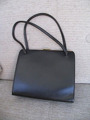 LOVELY VINTAGE DARK BROWN LEATHER KELLY BAG WITH GOLD LBF ELBIEF FRAME c.1960s