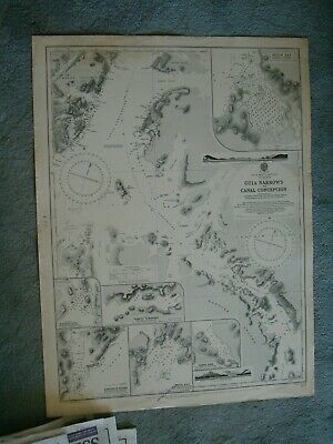 Vintage Admiralty Chart 877 PATAGONIA - GUIA NARROWS to CANAL CONCEPC'N 1880 edn