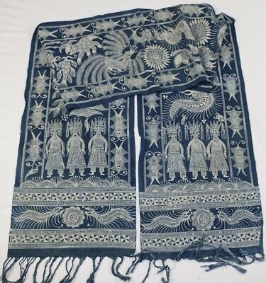 Vintage tribal exotic chinese ethnic miao people's hand batik  scarf/strip 2.46M