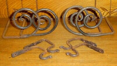Vintage Or Older Hand Forged Wrought Iron Curtain Tie Backs & Hooks