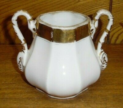 Antique Old Paris Porcelain Two Handle Sugar Bowl - No Lid - 3 7/8""