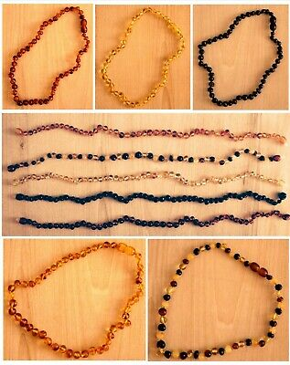 BALTIC AMBER NECKLACE 5 COLORS GENUINE CERTIFIED +/- 32cm (FOR 3YR+) AU SELLER