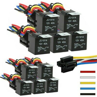 LOT 12V 30/40 Amp 5-Pin Car SPDT Automotive Relay with Wires & Harness Socket