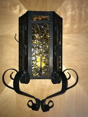 Vintage Mid Century Moe Porch Light Black Wrought Iron Gold Glass Wall Rare Nice