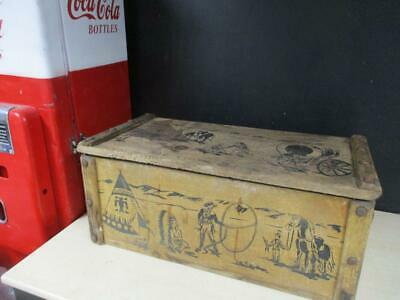 VINTAGE 50's COWBOYS TOY CHEST WESTERN WOODEN BOX INDIANS TRUNK HAZEL CABINET CO