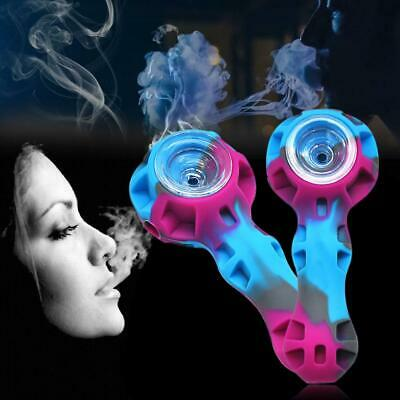 Mini Portable Organic Silicone Tobacco Herb Pipe with Glass Bowl Smoking Pipes