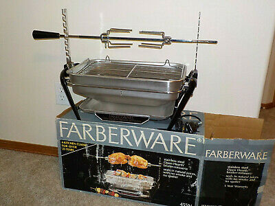 Farberware 455N Open Hearth Broiler Rotisserie*Excellent Unused*No Motor W/Box