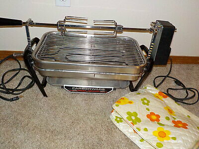 Vintage Farberware 450A Open Hearth Broiler Rotisserie With Vinyl Cover