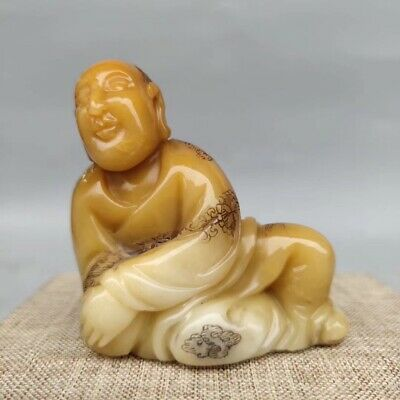 Ancient Chinese folk collection Shoushan stone statue Rohan AAA082