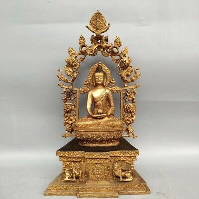 Ancient Chinese gilt Buddha statues ornaments folk collection AAA056