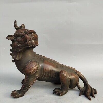 China ancient brass god beast ornaments folk collection AAA004