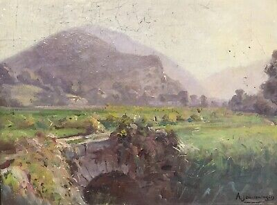 Early 20Th Century French Impressionist Signed Oil - Hazy Morning Landscape View
