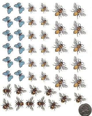 "Bees Butterflies Wasps 45 pcs 3/4"" to 1-1/4"" Waterslide Ceramic Decals Bx"
